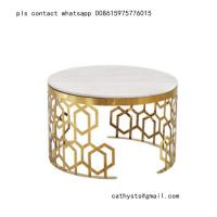Buy cheap New classical Hotel marble table bronze color stainless steel hollowed out from wholesalers