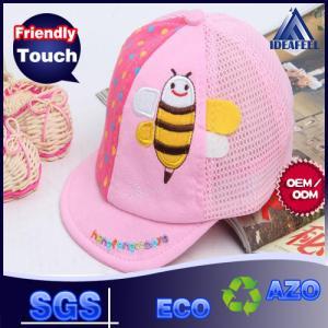 Custom Lovely Bee Fashion Short Brim Kids Soft Cotton Baseball Caps For Children