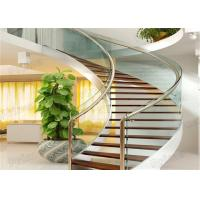 Buy cheap Indoor Curved design modern wooden staircase with glass railings product