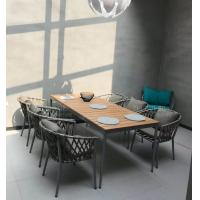 China Hot sale Poly belt chair Outdoor Garden furniture sets Coffe mesh fabric chair poly wood Table on sale