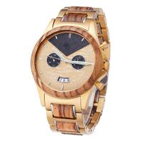 Buy cheap Zebra Wooden Wrist Watch Minimalist Design With Gold Plated Steel Wood Band product