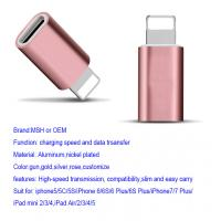 Buy cheap Aluminum 8 Pin Apple Lightning To Micro USB Adapter IPhone7 IPad Air Rose product