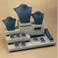 Buy cheap Cream Black Combination Jewelry Display Stands Set MDF with leatherette from wholesalers