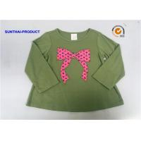 China Knot Bow Applique Top Long Sleeve Crew Neck Baby Girl T Shirt on sale