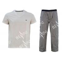 Buy cheap Comfortable Mens Luxury Sleepwear Jersey Shirt Short Sleeve And Woven Yarn Dyed Check Long Pants Australian Design product