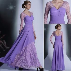 Buy cheap Venda el vestido de noche para mujer de moda de la demostración de la reunión anual del cordón largo elegante púrpura de la manga product