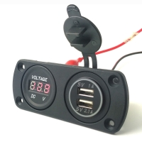 Buy cheap Car Boat Application 3.1A USB Charger and Voltmeter Combination Socket With Color Led product
