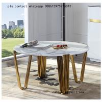 Buy cheap European style creative stainless steel coffee table modern tempered glass table from wholesalers