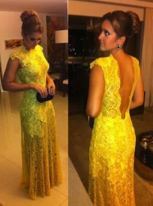 Buy cheap vestido largo hasta el suelo del baile de fin de curso del cordón amarillo del amarelo 2014 de vestido de renda product
