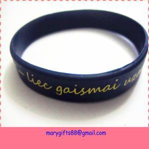 China Logo OEM Debossed Silicon Wristband on sale