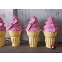Buy cheap Pink Color Shop Display Christmas Decorations Fiberglass Ice Cream Cone Height 160cm product