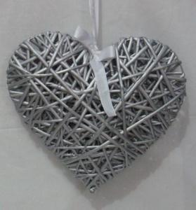 white woven wicker heart ,wicker heart decoration