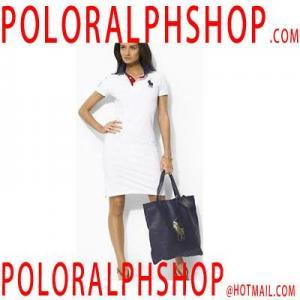 Blanc de robe bon marché de polo de coton de femmes de Ralph Lauren