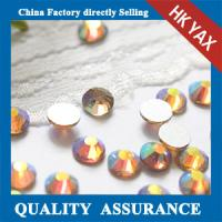 Buy cheap Topaz AB round non hotfix rhinestone for cell phone crystal product