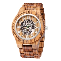 Buy cheap Men Mechanical Wrist Watches Natural Engraved Bamboo Wood Custom Logo product