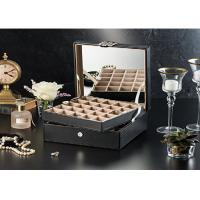 China 2 Layers Luxury Black Leather Cufflink Display Case , Empty Cufflink Boxes on sale