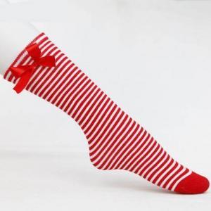 Buy cheap 流行の習慣はbowknotの膝の学校の女の子のための高い管の綿のソックスを縞で飾りました product