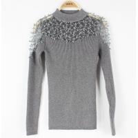 China Formail Womens Cable Knit Sweaters Lace Top Long-Sleeve Basic Jumpers on sale