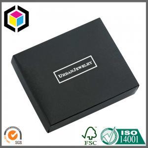 China Silver Foil Print Logo Matte Black Chipboard Paper Gift Jewelry Box on sale