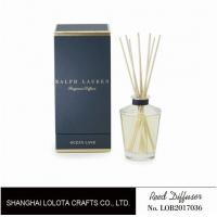 Buy cheap Clear Round Bottle Glass Reed Diffuser With Blue Rigid Gift Box Packaging product