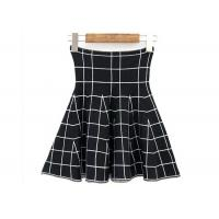 Buy cheap High Waist Grid Pattern Girls Skater Skirt / Fashionable Plaid Mini Skirt product