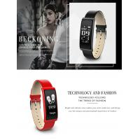China Luxury leather strap smart wristband C9 assistive touch screen heartrate pedometer bracelets on sale
