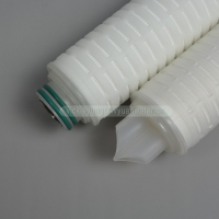 Buy cheap PTFE PVDF Pleated Filter Element 0.45 0.22 Micron Membrane Cartridge Filter product