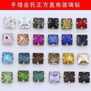 China Sew On Rhinestones Gold Claw Square Glass Shine Bright Strass Handmade Artwork Interior Decoration Sewing Cardiff Trims on sale