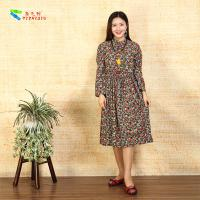Square Pocket Ladies Long Sleeve Dresses Flower Base Drawstring Waist Design
