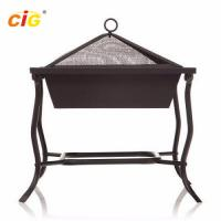 China Outdoor Square Iron Patio Brazier Bbq Grill , Steel Black Patio Meeting Bbq Grill on sale