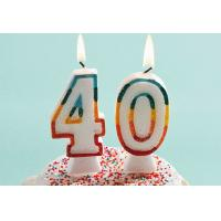Glitter Number Birthday Candles , 40th Anniversary Cake Candles Food Grade for sale