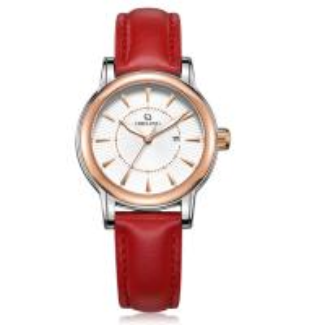 Buy cheap Ladies red color genuine leather strap Miyota 2035 quartz movement women wrist watch product