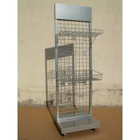 China Silver Steel Four Tier Hanging Display Racks Wire Mesh Shelving Units on sale
