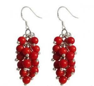 赤サンゴの純銀製のイヤリング