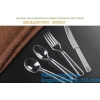 China Disposable Flatware Set-Heavyweight Plastic Cutlery 100 Forks, 100 Spoons, 100 Knives,PP Disposable Plastic Cutlery ps on sale