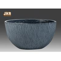 China Gray Color Garden Pots Round Clay Plant Pots Outdoor Flower Pot Resin Pot Planter on sale