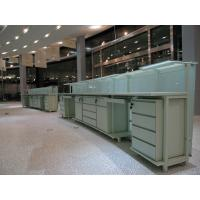 China Reception Counters in Metal legs and HPL laminate board with storage chest and Glass shelf on sale