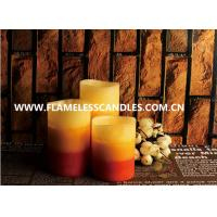 Colorful And Mottled Finish Flameless LED Candles 3 Inch / 4 Inch Pillar Candles With Real Wax