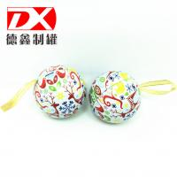 Christmas holiday promotional gift tin box, ball shape tin box