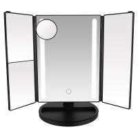 China Touch Screen Tri-fold LED Lighted Makeup Mirror with 1X 2X 3X 10X Magnification on sale