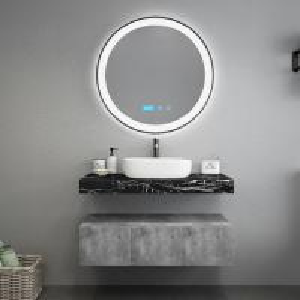 Buy cheap Black Marble Countertops Unique Bathroom Vanities , Touch Mirror Bathroom Sink Vanity Unit product