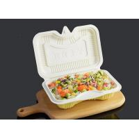 China PP Disposable Clamshell Carry Out Food Trays 17.5x12cm White Yellow Color on sale