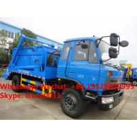 China dongfeng new 190hp diesel swing arm skid garbage truck for sale, HOT SALE! customized swing arm wastes collecting truck on sale