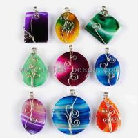 Wire Wrap Colorful Onyx Agate Pendant