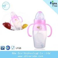 Buy cheap New Style Infant Baby 240ML Wide Neck Anti-microbial Silicone Feeding Bottle With Handles and Straw product