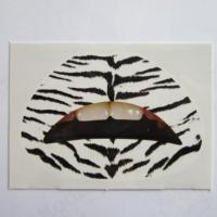 Custom fashion sexy zebra temporary lip tattoo water transfer