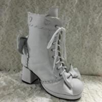 Lolita Long Coats Antaina Sweet White Real Cow Leather Lolita Heels Boots