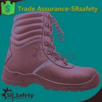 Buy cheap SRSAFETY high quality emboss cow split leather safety shoes black steel safety shoes product