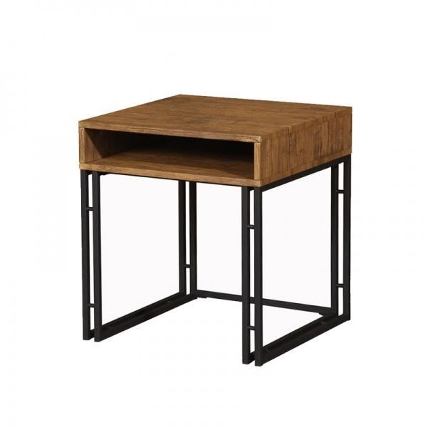 Small Metal Side Table With Wooden Top Of Kindiy