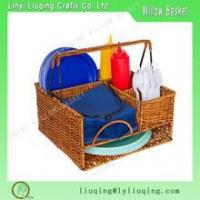 Buy cheap Woven Rattan and Wicker Seven-Compartment Picnic Organizer Basket with Metal Frame product